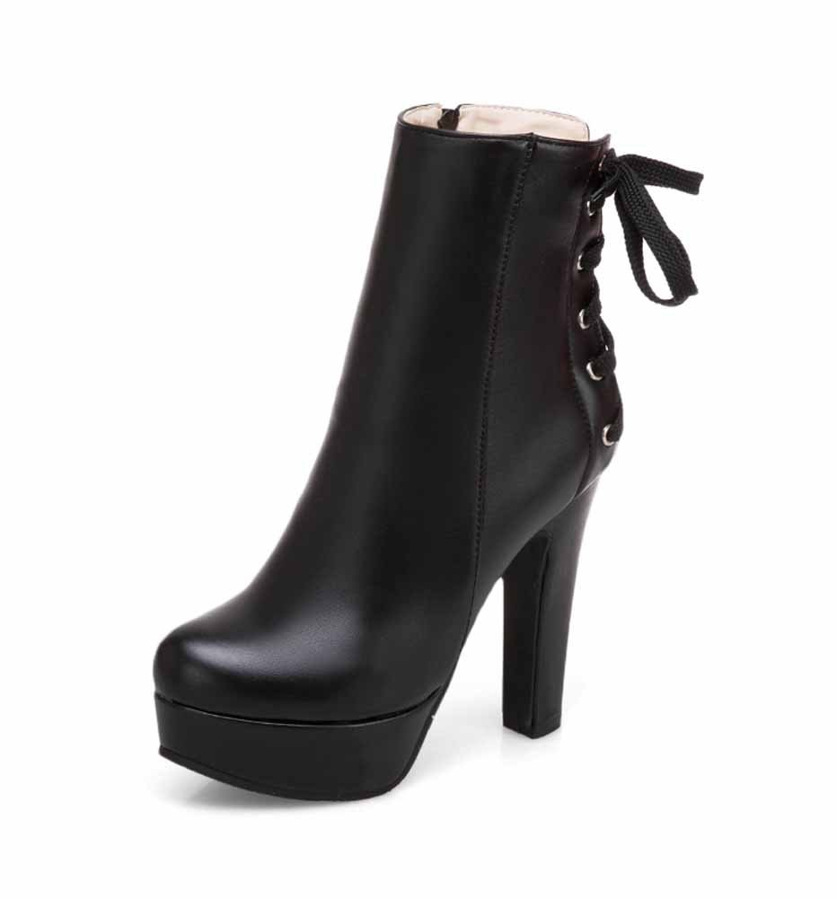 GLTER Femmes Plate-Forme Bottes 2018 Automne Hiver Mode Zipper High Heel Lace Up Cheville Bottes Taille 34-48