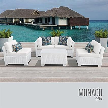 TKC Monaco 5 Piece Patio Wicker Sofa Set In White