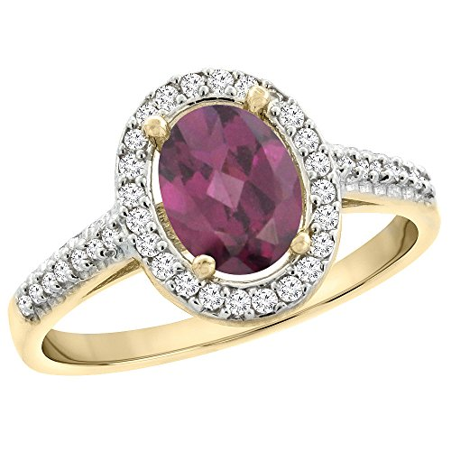 14K Yellow Gold Natural Rhodolite Engagement Ring Oval 7x5 mm Diamond Halo, size 10 14k Yellow Gold Rhodolite Ring