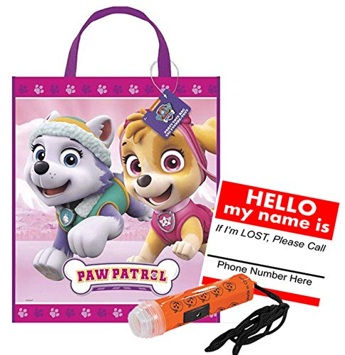 (Paw Patrol Skye & Everest Reusable Medium Sized Halloween Trick Treat Candy Loot Bag!! Plus Bonus Safety First Sticker & Mini Halloween Flashlight Necklace!)