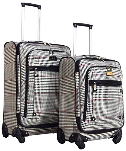 Cheap Nicole Miller New York Taylor 2-Piece Luggage Set: 24″ and 20″ Spinners (Beige)