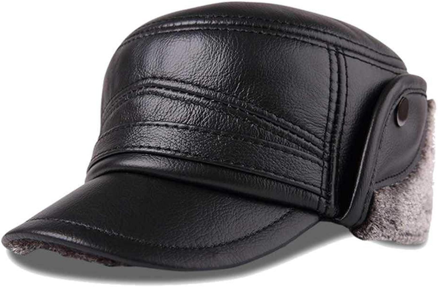 nuevos Sombreros de Bombardero de Cuero Genuino Gorra de orejera ...