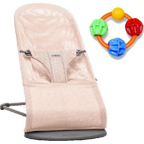 Baby Bjorn Bliss Bouncer - Powder Pink with Click Clack Balls Teether by BabyBjörn