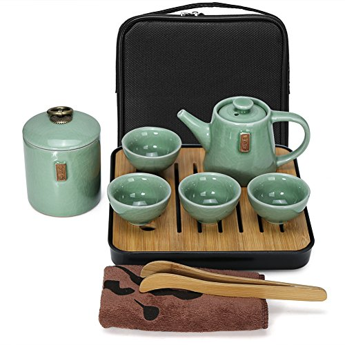 Fuloon Chinese Kungfu Tea Set Portable Travel Ceramic Porcelain Tea Ware Teapot & Teacups & Tea Tray (D)