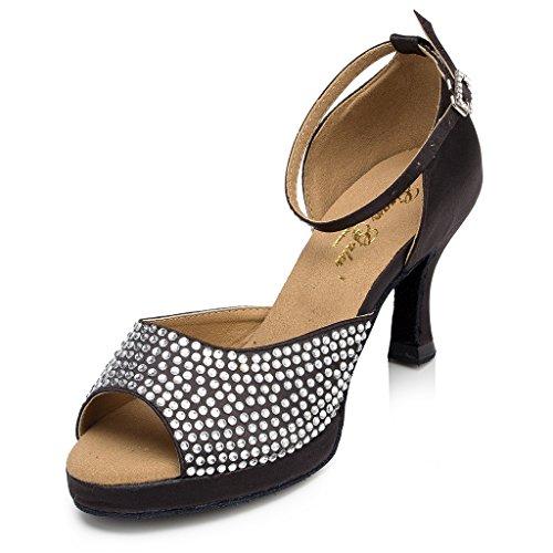 Crc Womens Elegante Peep Toe Sparkle Rhinestone Raso Da Ballo Morden Tango Partito Da Ballo Professionale Scarpe Da Ballo Nero