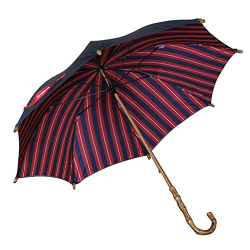 Vintage Bamboo Long Handle Umbrella Double Cloth Creative Environmental (Color : Red striated)
