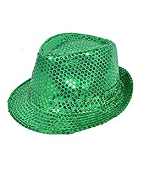 Solid Green Color Sequins Fedora Hat