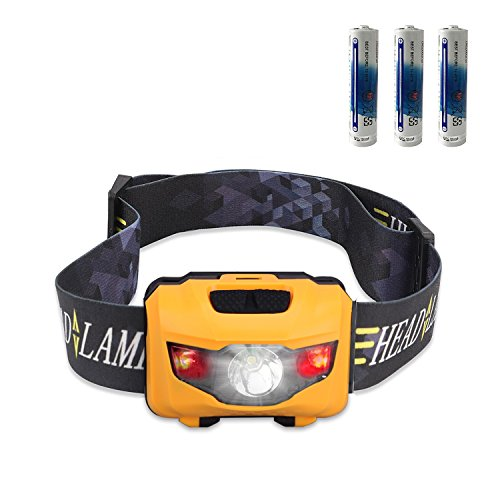 Ultra Bright 160 Lumen CREE LED Headlamp Flashlight, with Red Lights, Waterproof Head Lights for Kids and Adults Camping, Running, Batteries Included, Orange