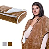 CANDY CANE Wearable Sherpa Plush Throw Blanket with Three Holes for Head and Hands 60'x50' Super Soft Touch Microfiber One Size Fits All Tranquil Fuzzy Fleece Blanket (Cotton Gray)