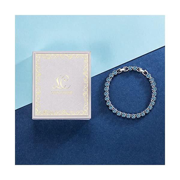 0fb7b5f6c65017 LadyColour Blue Aquamarine Tennis Bracelet Swarovski Crystals Bracelet  Jewelry for Women Christmas Gifts Birthday ...