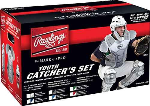 Rawlings Sporting Goods VCSY-S/W Catcher Set Velo Series Protective Gear, Scarlet/White, Age 12 & Under ()