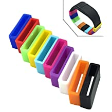 HopCentury Multi-color Silicone Fastener Ring for Fitbit Flex / Garmin Vivofit / Samsung Galaxy Gear Fit / Fitbit Charge HR Wristband - 10 Pack