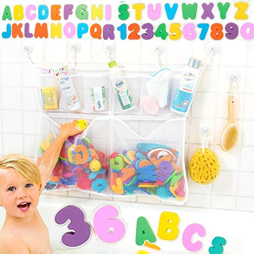 Tub Cubby Bath Toy Organizer +36 ABC 123 Soft Foam Bath Toys Letters & Numbers + Quick Dry Storage Net + Lock Tight Suction Cups & Stickers Hooks - Sure Not to Fall. (Really Big 23x30)