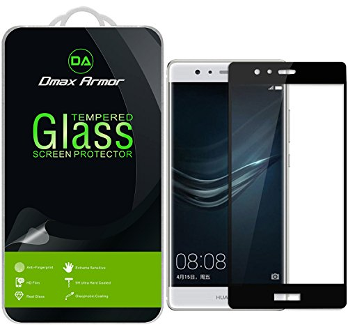 Huawei P9 Plus Glass Screen Protector, [Full Screen Coverage] Dmax Armor [3D Curved Tempered Glass] Anti-Scratch, Anti-Fingerprint, Bubble Free, (Black)