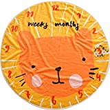 WINGOFFLY 0-1 Years Round Flannel Infant Baby Monthly Milestone Blanket Included Flowers Frame Swaddling Blanket for Photography Backdrop Photo Prop, Cat