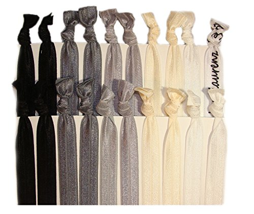Hair Ties Ponytail Holders - 20 Pack - Black Ombre No Crease Ouchless Elastic Styling Accessories Pony Tail Holder Ribbon Bands - By Kenz Laurenz