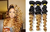 Mixed Length 24 26 26 Inches Color T1B/27 Loose Wave Brazilian Hair 3 Bundles 100% Real Human Hair Blonde Ombre Remy Hair Extensions Weave Weft Black 2 Tone 7A by BABE HAIR