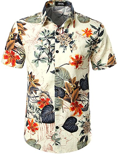 b383f72ee JOGAL Men's Flower Casual Button Down Short Sleeve Hawaiian Shirt - Buy  Online in UAE. | Apparel Products in the UAE - See Prices, Reviews and Free  Delivery ...