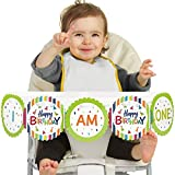 Big Dot of Happiness Cheerful Happy Birthday 1st Birthday - I Am One - Colorful First Birthday High Chair Banner