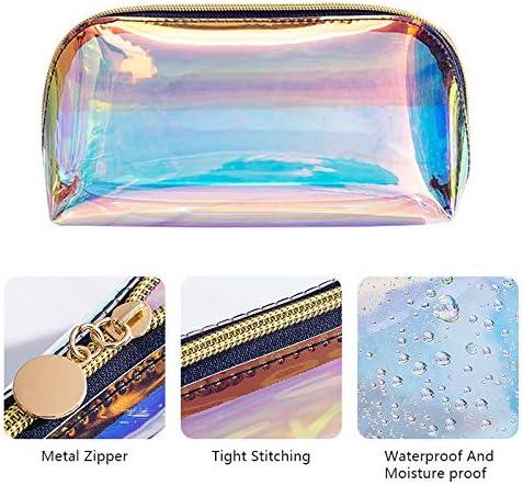 FOONEE - Estuche holográfico con cremallera holográfica, estuche con cremallera, estuche para cosméticos, estuche organizador, estuche para guardar lápices, para mujeres y adultos: Amazon.es: Hogar