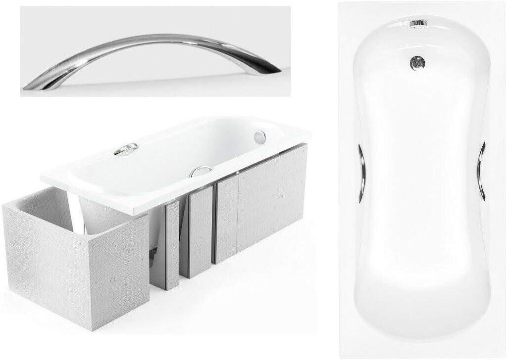Ablaufgarnitur und F/ü/ßen GRATIS BADLAND Rechteck Badewanne Ari 150x70 mit Wannentr/äger Handgriffen