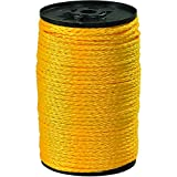 Ship Now Supply SNTWR115 Hollow Braided Polypropylene Rope, 3/8'', 2, 100 lb, 1000', 0.375'' width, Yellow
