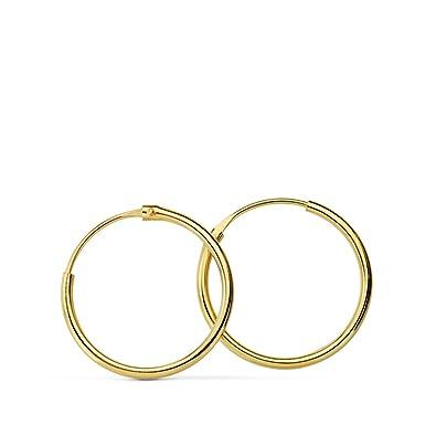 11f9087c55ba Pendientes oro amarillo Niña Morfea 15mm 18 Ktes  Amazon.es  Joyería
