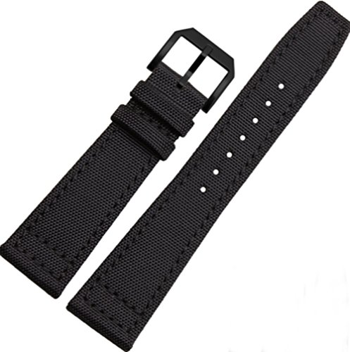 20mm 21mm 22mm Canvas Leather Watch Band Strap Fits for IWC Pilot's Watches (22mm, Black(Black Buckle))