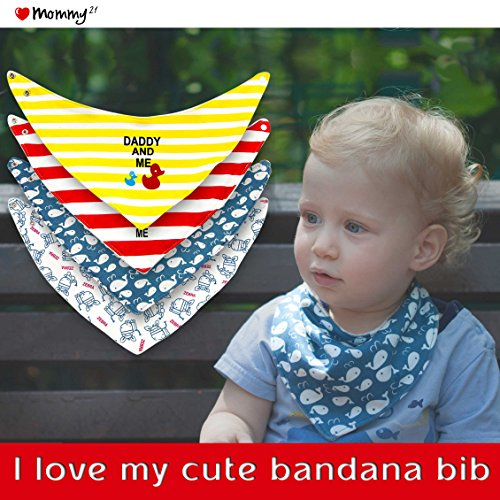 Baby Bandana Drool Bibs, Teething and Dribble Soft Bib - 100% Organic Super Absorbent Cotton - 4 Pack Cute Baby Shower Gift (Superhero Outfits)