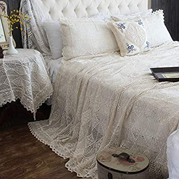 Image of Home and Kitchen Abreeze Vintage Cotton Bedding Set Hand Crochet Bedspread Hook Floral Beige Lace Bed Spread with Pillowcases 3Pcs,King