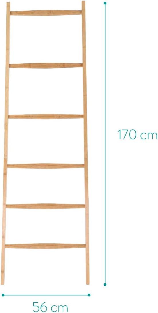 Navaris Escalera toallero de bamb/ú Perchero Organizador con 6 pelda/ños Toallero de pie Vintage Porta Toallas para apoyar en la Pared 1.7 M