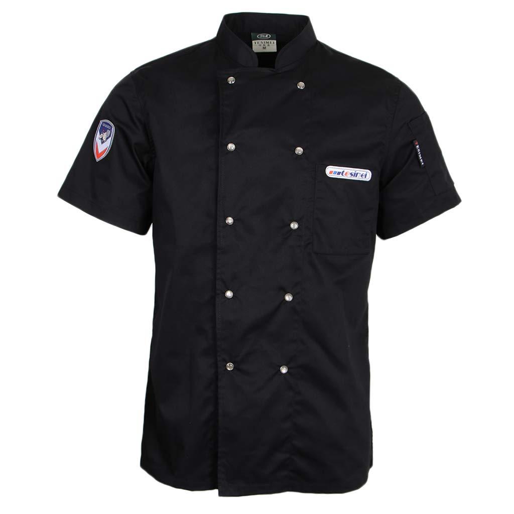 P PRETTYIA Abbigliamento Professionale Cuoco Giacca Manica Corta da Uomo Estiva
