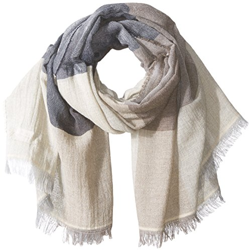 Italian Fringe Trim - La Fiorentina Women's Italian Wool Blend Scarf With Short Fringe Trim, beige combo, One Size