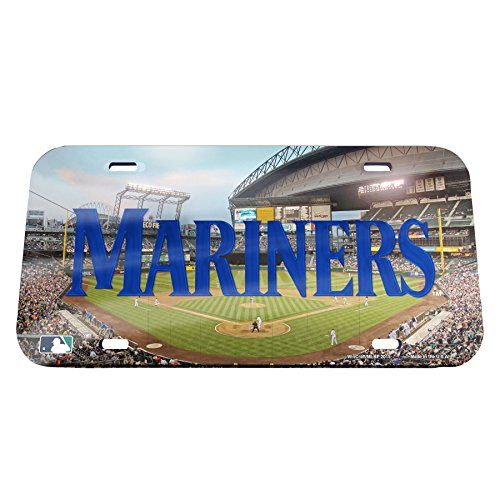 MLB Seattle Mariners Stadium Crystal Mirror License Plate, 6 x 12