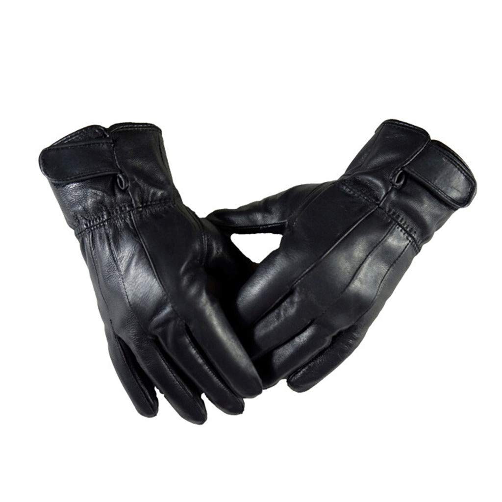 Mens Luxurious Leather Winter Driving Warm Gloves Cashmere Windproof Waterproof