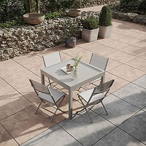 Table de Jardin Extensible Aluminium 90/180cm + 4 Chaises ...