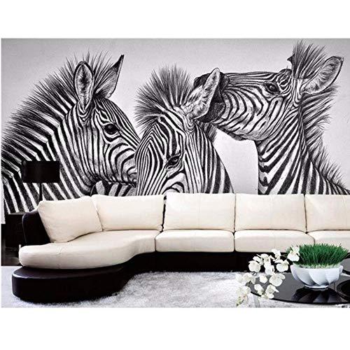 Woven Zebra - LSFHB Custom 3D Photo Wallpaper Mural Living Room Pencil Drawing Abstract Zebra 3D Painting Sofa Tv Background Wall Non-Woven Sticker-200X140Cm
