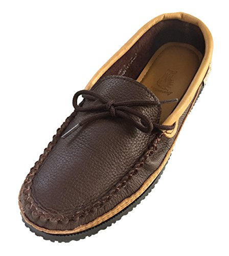 Laurentian Chief Men's Elk & Moosehide Leather Loafer Moccasin Shoes - Brown Elk
