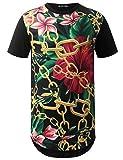 #4: URBANCREWS Mens Hipster Hip Hop Graphic Print Crewneck Longline T-Shirt