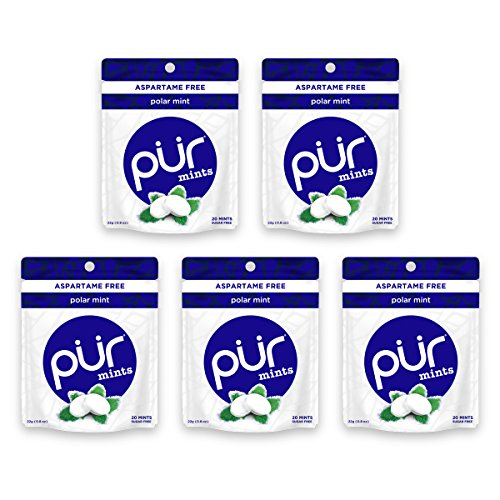 The PUR Company  | Sugar-Free + Aspartame-Free Mints  | 100% Xylitol  | Polar Mint | Vegan + non GMO  | 20 Mints per Bag (Pack of 5, 100 Mints) ()