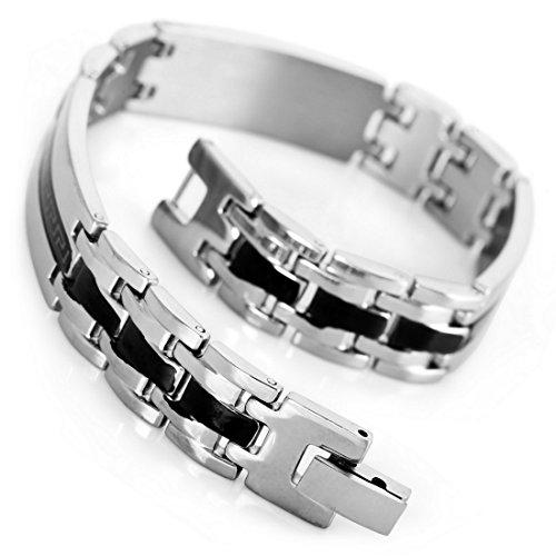 INBLUE Men's Stainless Steel Bracelet Link Wrist Silver Tone Black Greek