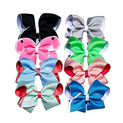 Allwon Hair Bows 4 Inch Polyester Ribbon Big Hair Bow Clips For Girls Teens Kids,8 Colors