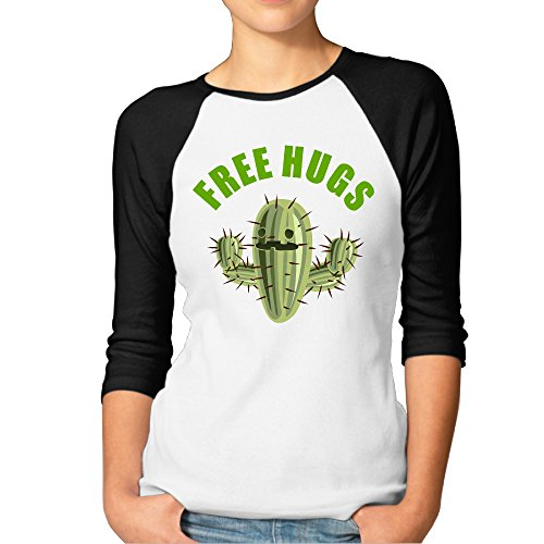 Women's Free Hugs Cactus Cotton 3/4 Sleeve Raglan T-Shirts Black Small (Lil Cactus Girls compare prices)
