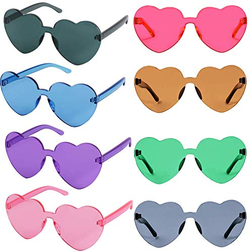 Oeyeo Transparent Colored Lenses Monoblock Heart Shaped Rimless Sunglasses for Party Favors(8 Pack) -