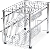 SimpleHouseware Stackable 2 Tier Sliding Basket Organizer Drawer, Chrome