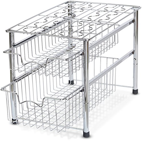 SimpleHouseware Stackable 2 Tier Sliding Basket Organizer Drawer, Chrome (Organizer Undersink)