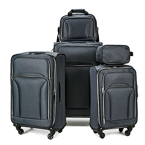 - Fochier Luggage 5 piece Spinner Set Lightweight Expandable Softshell Suitcase