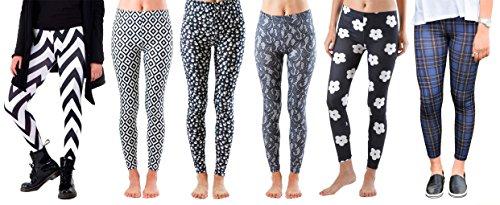 Big Girls Fun Printed Leggings 14-16 (6 Pack) DLJ77 M