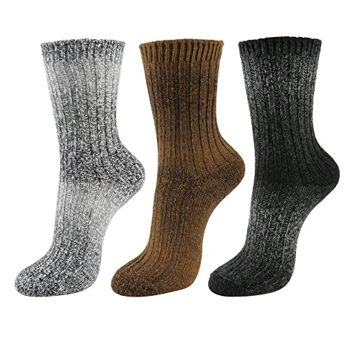 Angora Wool Socks - STYLEGAGA Women's Winter Wool Knit Casual Ankle Socks (One Size:Regular, Wool Gradation_Basic-3Pair)