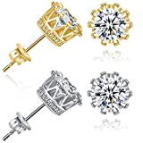 Bling Toman Round Cut Cubic Zirconia Stud Women Mens Earrings Crown Earring (3.50 carats)